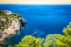 Cala Tarida in Ibiza beach San Jose at Balearic Islands Stock Image