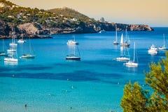 Cala Tarida in Ibiza beach San Jose at Balearic Islands.  stock photo