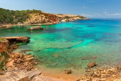 Cala Xarraca,  Ibiza Spain. Cala Xarraca, a beautiful small bay in Ibiza Spain Royalty Free Stock Images