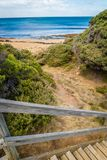 Cala y ensenada en Torquay, Victoria, Australia fotos de archivo libres de regalías