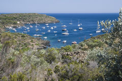 Cala with yachts in the Costa Brava, Catalonia, Spain Royalty Free Stock Images