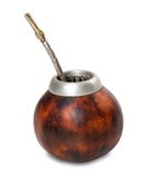 Calabash with bombilla on white background Royalty Free Stock Photos