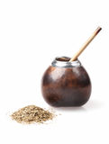 Calabash and bombilla with yerba mate isolated on white Royalty Free Stock Photos