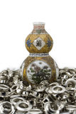 Calabash china amulet on eyelet. Eyelet calabash china amulet white royalty free stock photography