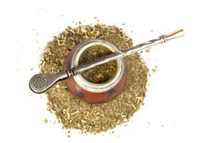 Calabash with yerba mate Stock Photos