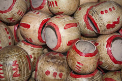 Calabashes cups pile for sale at Chichicastenango market. In Guatemala Stock Image
