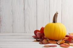 Calabaza amarilla en hojas de otoño, decoración del día de fiesta Imagenes de archivo