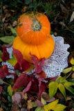 Calabaza amarilla para el día de fiesta Halloween al aire libre Fotos de archivo