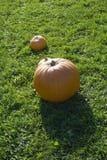 Calabaza anaranjada grande con la más pequeña Imagen de archivo