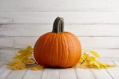Calabaza anaranjada grande en hojas de otoño en los tablones de madera blancos Imágenes de archivo libres de regalías