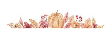 Calabaza Autumn Hand Painted Fall Frame de la acuarela Fotos de archivo libres de regalías