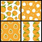 Calabaza Autumn Seamless Patterns Set stock de ilustración