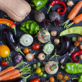 Calabaza, berenjena, pimientas, zanahorias, tomates, cebollas, ajo y remolachas vegetales de la cosecha del otoño en un fondo osc Fotos de archivo libres de regalías