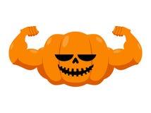Calabaza con los músculos Aptitud Halloween Verdura con la ha grande Fotos de archivo libres de regalías