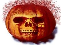 Calabaza con una cara con el espray de la sangre para Halloween en el fondo blanco foto de archivo libre de regalías