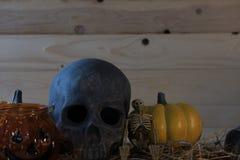 calabaza, cráneo, esqueleto en el fondo de madera para el holi de Halloween foto de archivo libre de regalías