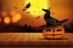 calabaza de 3D Halloween en una tabla de madera con im fantasmagórico defocussed Fotos de archivo libres de regalías