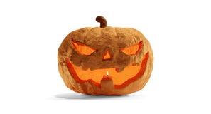 Calabaza de Halloween aislada en 3d-illustration blanco stock de ilustración