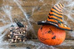 Calabaza de Halloween, arañas, web de araña y rata Fotografía de archivo