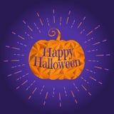 Calabaza de Halloween con el ejemplo del texto del saludo imagen de archivo