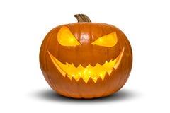 Calabaza de Halloween con el interior de las luciérnagas aislado en blanco fotos de archivo