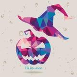Calabaza de Halloween con el sombrero alto de la bruja hecho de triángulos Fotografía de archivo