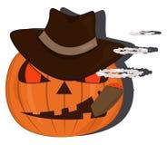 Calabaza de Halloween con el sombrero y un cigarro Imágenes de archivo libres de regalías