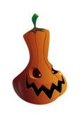 Calabaza de Halloween con la cara asustadiza en blanco Foto de archivo