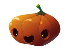 Calabaza de Halloween con la cara asustadiza en blanco Imagen de archivo libre de regalías