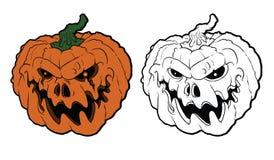 Calabaza de Halloween con la cara asustadiza en blanco libre illustration