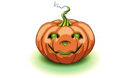 Calabaza de Halloween con la cara feliz en el fondo blanco Vector Ca foto de archivo libre de regalías