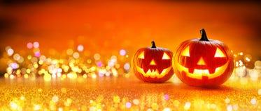Calabaza de Halloween con las luces Imagen de archivo libre de regalías