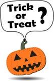 Calabaza de Halloween de la etiqueta colgante Fotos de archivo libres de regalías
