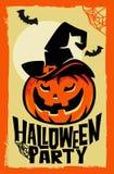 Calabaza de Halloween del vector con el sombrero de la bruja Fotos de archivo libres de regalías