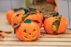 Calabaza de Halloween en fondo Imágenes de archivo libres de regalías