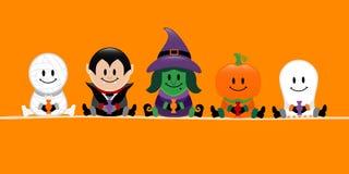 Calabaza de la bruja del vampiro de la momia de Halloween de la bandera y naranja del fantasma libre illustration