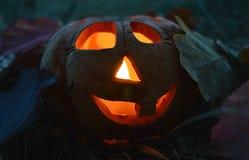 Calabaza de la palmatoria con una vela ardiente dentro, entre las hojas caidas en la oscuridad, símbolo de Halloween fotografía de archivo