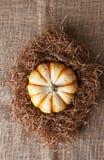 Calabaza decorativa en paja en la arpillera Fotografía de archivo