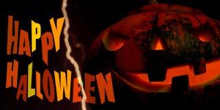 Calabaza del feliz Halloween con el relámpago Imagenes de archivo