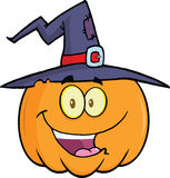 Calabaza del feliz Halloween con un sombrero de la bruja Imagenes de archivo