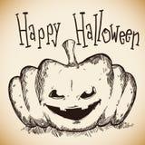 Calabaza dibujada mano feliz de Halloween y fantasmagórica Imagenes de archivo