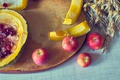 Calabaza dulce cocida hecha en casa con el plato tradicional del otoño de los arándanos Imagen de archivo libre de regalías