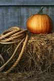 Calabaza grande con la cuerda en el heno Fotos de archivo