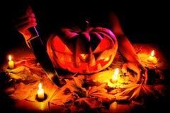 Calabaza Jack O& x27 de Halloween; Linterna Imagen de archivo