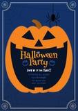 Calabaza Jack que sonríe en el ejemplo azul de BG Halloween foto de archivo libre de regalías