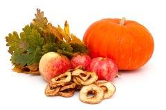 Calabaza, manzanas y hojas de otoño Imagenes de archivo