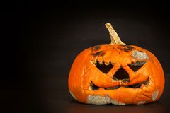 Calabaza mohosa Final de las celebraciones de Halloween La calabaza de decaimiento Comida mohosa imagen de archivo