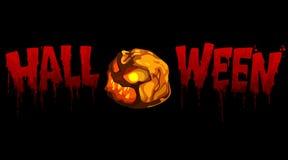 Calabaza sangrienta de Halloween de la inscripción con la luz Imágenes de archivo libres de regalías
