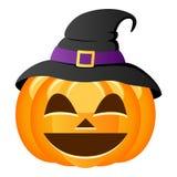 Calabaza sonriente de Halloween con el sombrero de la bruja Foto de archivo libre de regalías