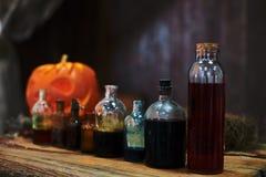 Calabaza, tabla de madera con las hierbas secadas y botellas, una visión superior, en el estudio, por la tarde Foto de archivo libre de regalías